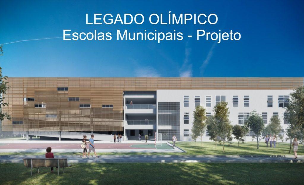 Projeto da fachada das novas escolas municipais que serão construídas em Duque de Caxias