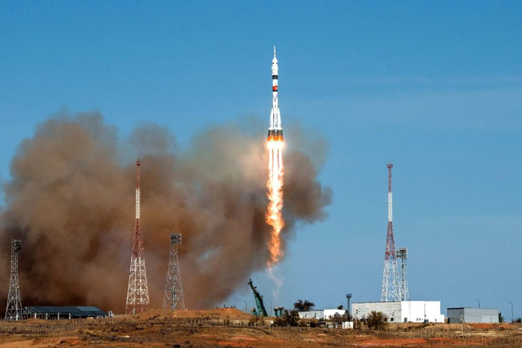 The Soyuz MS-17 spacecraft carrying the crew formed of Kathleen Rubins of NASA, Sergey Ryzhikov and Sergey Kud-Sverchkov of the Russian space agency Roscosmos blasts off to the International Space Station (ISS) from the launchpad at the Baikonur Cosmodrome, Kazakhstan October 14, 2020. Andrey Shelepin/GCTC/Russian space agency Roscosmos/Handout via REUTERS ATTENTION EDITORS - THIS IMAGE HAS BEEN SUPPLIED BY A THIRD PARTY. MANDATORY CREDIT.