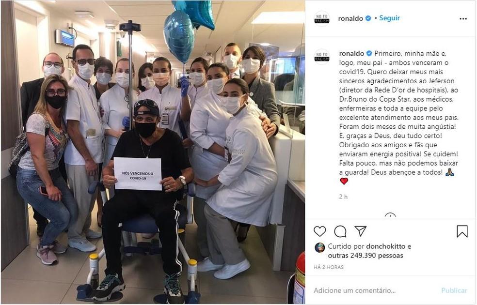 onaldo postou foto de agradecimento aos médicos em uma rede social.