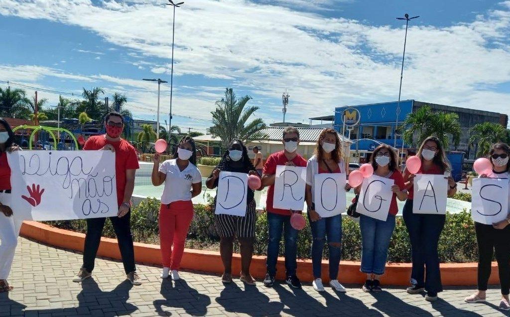 Equipe do Caps Ad fez um trabalho de conscientização contra o uso de drogas lícitas e ilícitas/Divulgação/PMBR