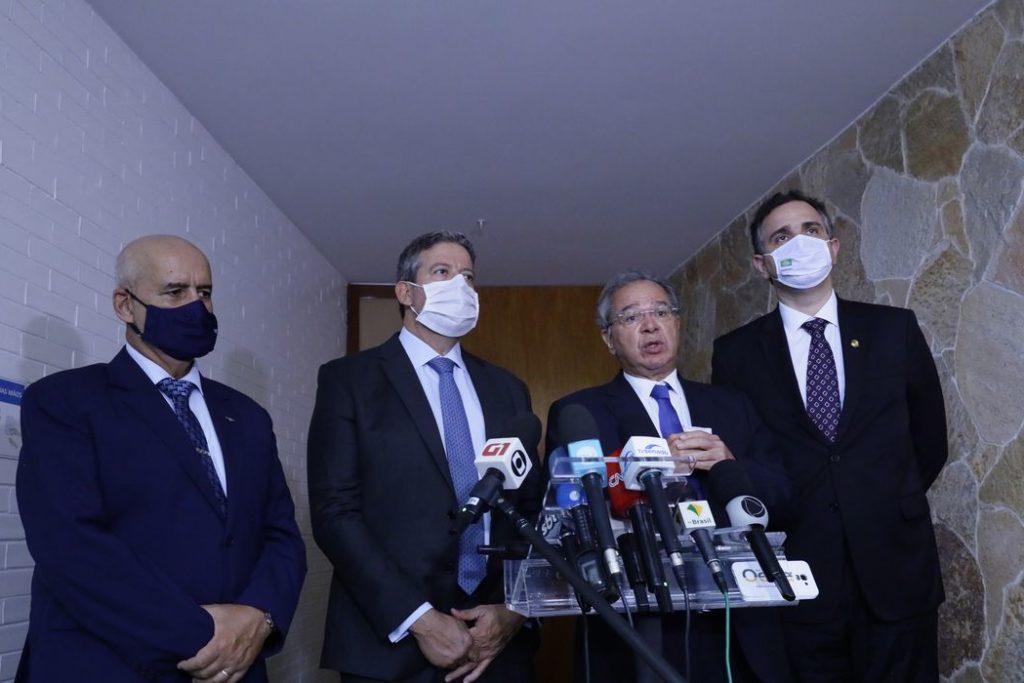 Os presidentes da Câmara, Arthur Lira, e do Senado, Rodrigo Pacheco, se reuniram com o ministro Paulo Guedes/Luis Macedo / Câmara dos Deputados