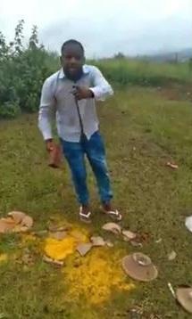Gleidson Lima aparece em vídeo profanando peças religiosas/Reprodução