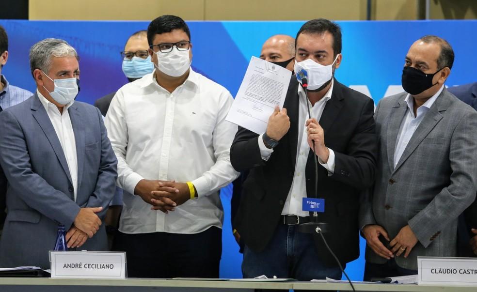 Governador Cláudio Castro assinou a PL em Nova Iguaçu, durante a abertura do Governo Presente Baixada/Divulgação/Governo do Estado