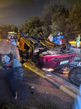Acidente entre carro de passeio e ônibus do BRT Rio/Reprodução/WhatsApp