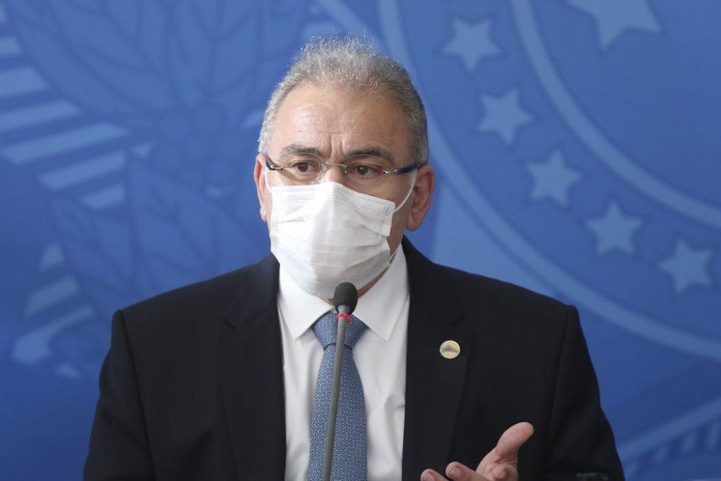 O ministro da Saúde,  Marcelo Queiroga, durante coletiva no Palácio do Planalto/Marcelo Camargo/Agência Brasil