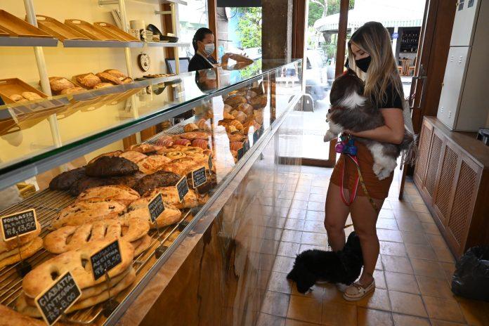 A designer Erika Flores toma café da manhã na companhia do cão de estimação/Divulgação/RJPET