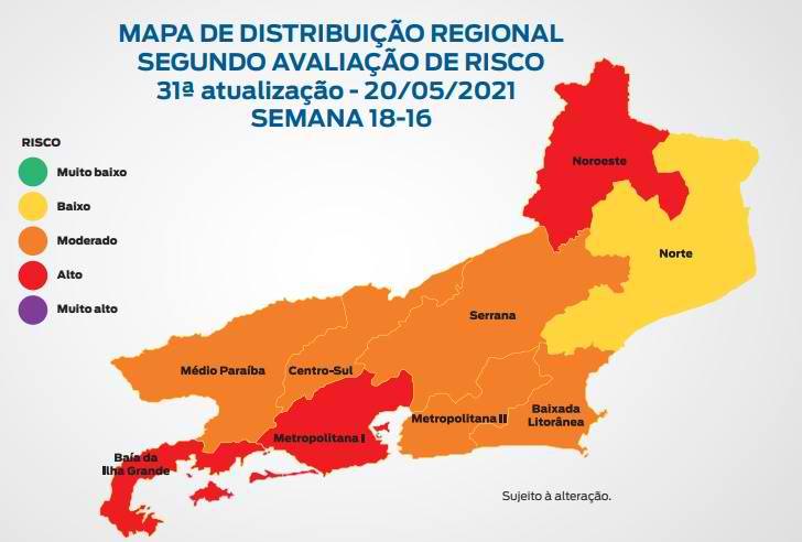 O mapa compara a semana epidemiológica 19 (9 a 15 de maio) com a 17 (25 de abril com 1 de maio)/Divulgação