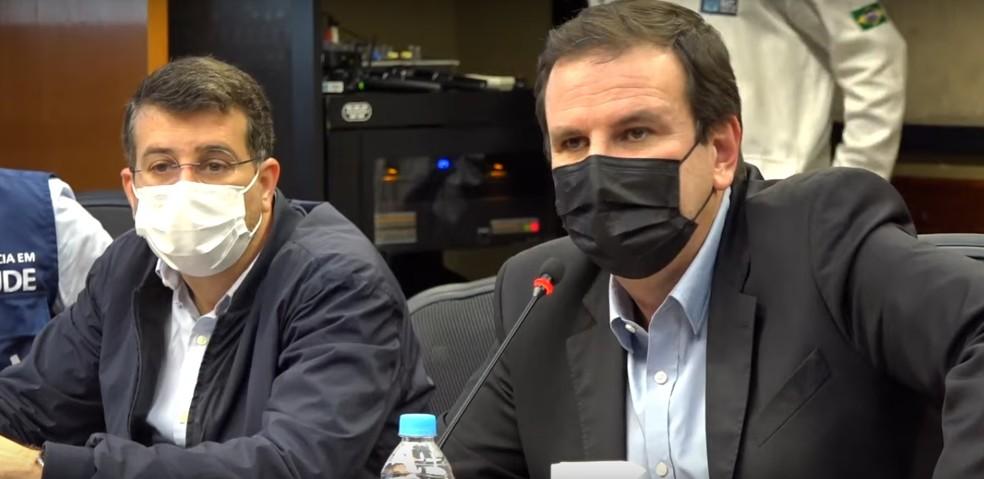 Eduardo Paes, prefeito do Rio de Janeiro, e Daniel Soranz, secretário municipal de saúde — Foto: Divulgação/ Prefeitura do Rio