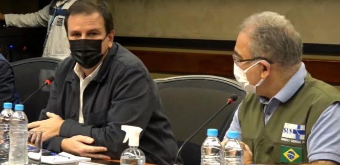 Prefeito do Rio, Eduardo Paes, e ministro da Saúde, Marcelo Queiroga/Reprodução/Prefeitura do Rio