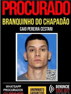 Apontado como um dos líderes do tráfico do Chapadão, Caio Pereira Cestari é procurado Divulgação/ Portal dos Procurados