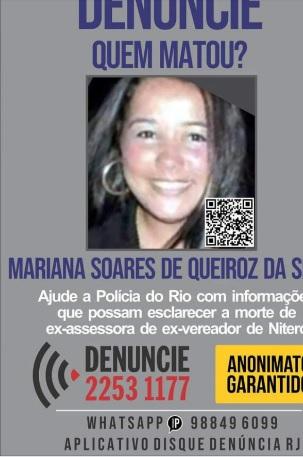 Mariana Soares foi morta a tiros no Fonseca, em Niterói/Divulgação / Portal dos Procurados