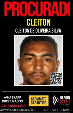 Cleiton de Oliveira Silva é considerado foragido da Justiça/Divulgação / Portal dos Procurados