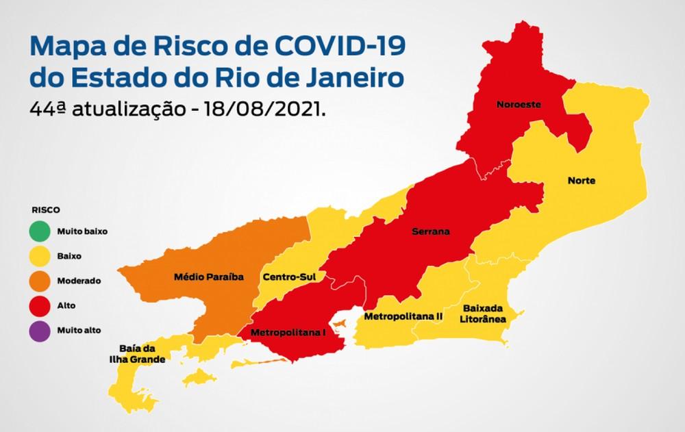 Mapa do Risco da Covid, do governo do estado/Reprodução/Secretaria Estadual de Saúde