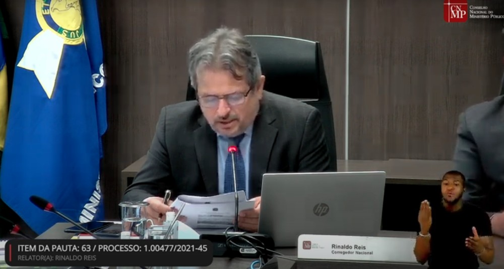 Corregedor Nacional do CNMP, Rinaldo Reis, foi o primeiro a se manifestar/Reprodução/YouTube