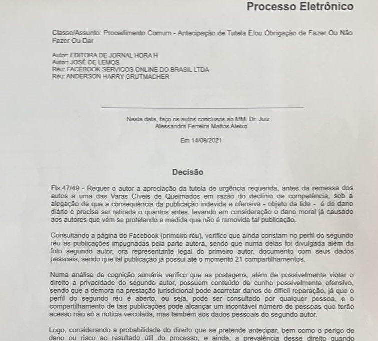Decisão da juíza Alessandra Ferreira Mattos Aleixo, da 5ª Vara Cível da Comarca de Nova Iguaçu, determinando a retirada das publicações/Reprodução