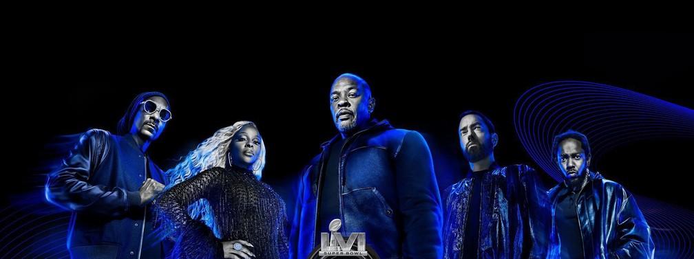 Snoop Dogg, Mary J. Blige, Dr. Dre, Eminem e Kendrick Lamar estarão no Super Bowl 2022/Divulgação